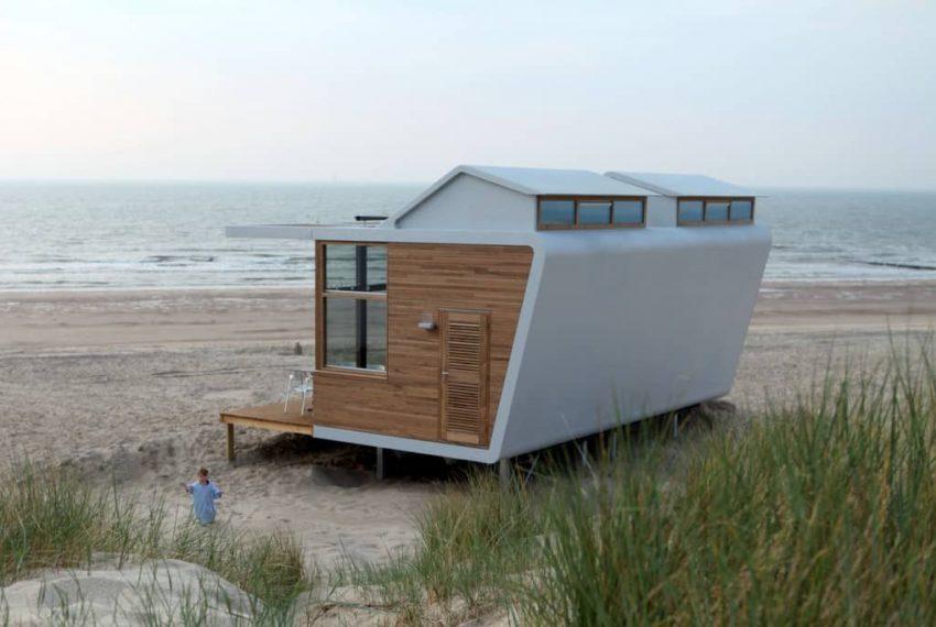 Achterzijde strandhuisje Cadzand